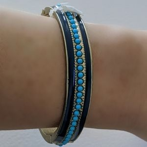 Banana Republic Blue Enamel Gold Bangle Bracelet